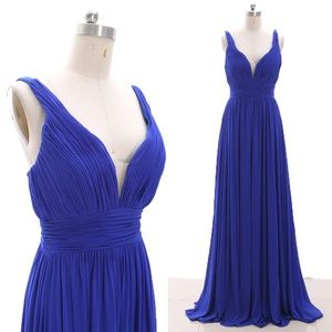 V Neck Jersey Royal Blue Prom Gown Formal Evening